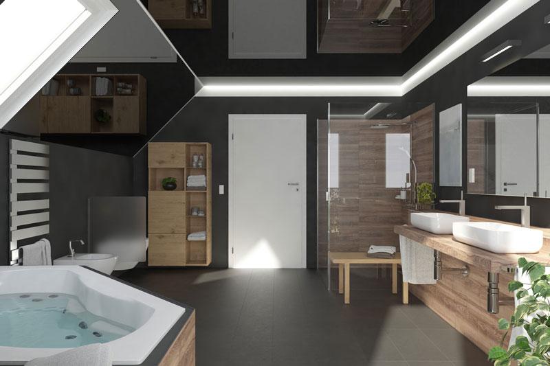 Komfort Bad mit Dachschräge Konzeption: 3DS Max / Rendering: VRAY